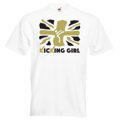 British Kicking Girl 10KG-Gold-and-black-on-white-shirt