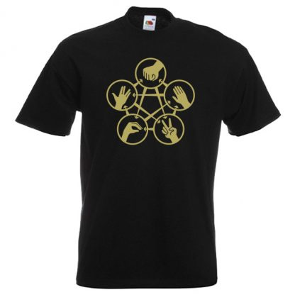 Rock Paper Scissors Spock G2 gold-on-black-Tshirts