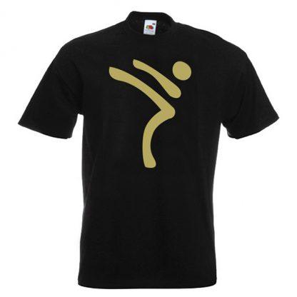 Kicking Man BIG Logo gold-on-BLACK-2R