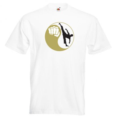 Yin Yang Men 22M4-gold-and-black-on-white-shirt
