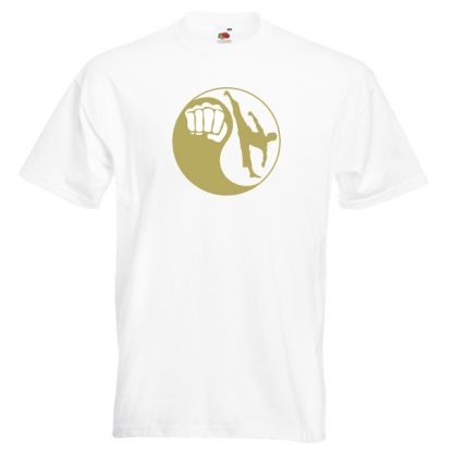 Yin Yang Men 22M7-gold-on-white-shirt
