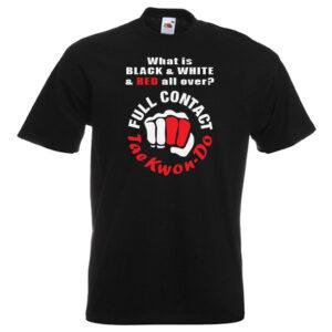 full contact taekwondo 18R-red-and-white-on-black-shirt