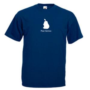 pear genius G1-white-on-navey-blue-Tshirt