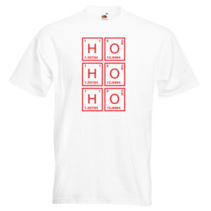 Ho Ho Ho X1 red on white- shirts